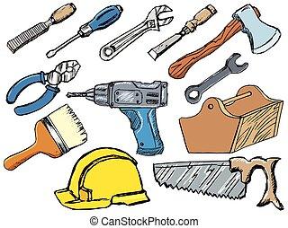 רשום, דוגמות, וקטור, לעבוד, קבע, העבר, tools., צייר, לבן