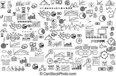 רשום, יסודות, ממן, עסק, שרבט, ecomomic, אוסף, העבר, infographics, צייר