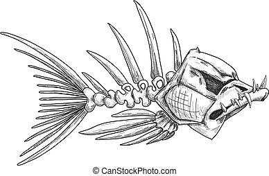 רשום, שלד, fish, קללה, שיניים, חד
