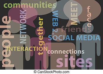 רשת, אנשים, תקשורת, תקשורת, נאום, סוציאלי