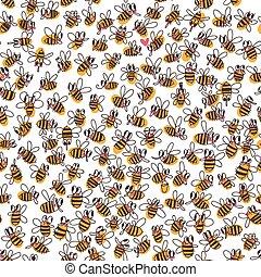 רשת, השתמש, וקטור, מארג, קיץ, נייר, תבנית, התמלא, seamless, bees., או, רקע, התגלה, זה, template., design., טקסטורות, רקע, עמוד