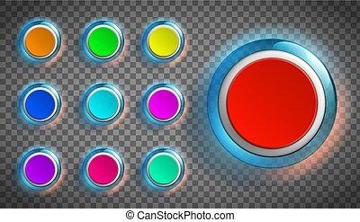 רשת, צבע, אתר, סיבוב, כפתורים, app., או