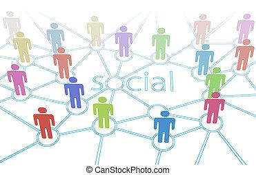 רשת, צבע של אנשים, תקשורת, קשרים, סוציאלי