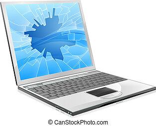 שבור, מחשב נייד, הקרן