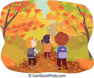 שביל, stickman, סתו, דוגמה, ילדים, יער