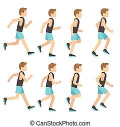 שדון, סדר, אתלטי, אמונית, לרוץ, דוגמה, הסגר, וקטור, אנימציה, איש