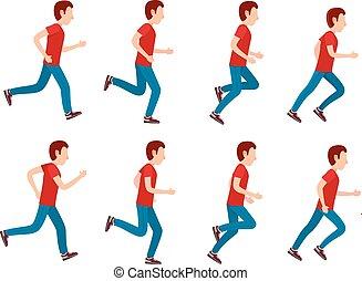 שדון, set., לרוץ, אנימציה, 8, איש, הסגר, loop.
