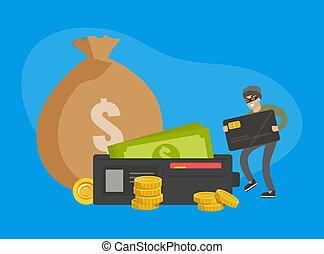 שוד, לגנוב, זכה, לחייב, דירה, איש, קטע, גנב, וקטור, פושע, כסף, כספי, דוגמה, הסתר, כרטיס, מופקר