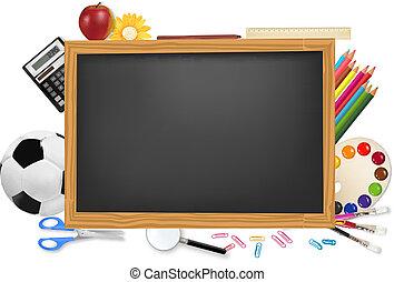 שולחן שחור, supplies., בית ספר