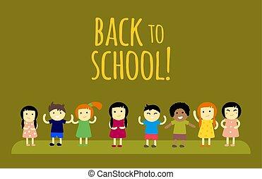 שונה, ילדים, תלמידים, השקע, בית ספר, וקטור, illustration.