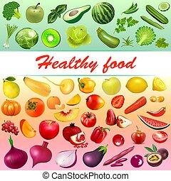 שונה, ירקות, בריא, דוגמה, אוכל, צבעים, רקע, פירות, עינבים