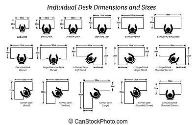 שונה, מימדים, sizes., איש, דסקטופ, שולחן