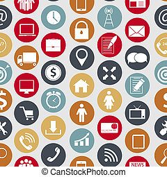 שונה, ממן, איקונים, תקשורת, seamless, עסק של דוגמה, וקטור, תבנית