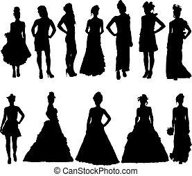 שונה, צלליות, התלבש, נשים