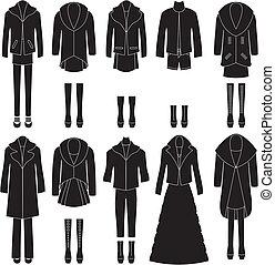 שונה, קבע, clothing., combinations., נשים