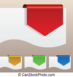 שחוי, מדבקות, edge., הנחה, נייר, אדום, מסביב