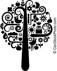 שחור, אקולוגי, עץ, לבן, איקונים