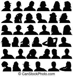 שחור, הובל, וקטור, צללית, אנשים