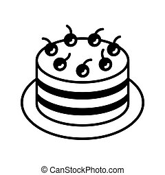 שחור, וקטור, דובדבן, *עכשיוי, לבן, רקע., icon., הפרד, יער, קו, עוגה, art., תאר