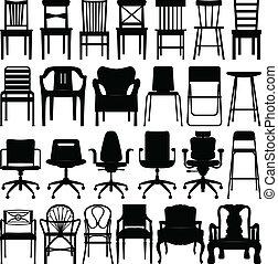 שחור, כסא, קבע, צללית