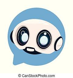 שחח, או, רובוט, חמוד, bot, chatbot, נאום, איקון, מושג, טכנולוגיה, בעבע, פטפט