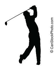 שחקן גולף, צללית, -, גמור, גולף, ספורט, tee-shot
