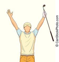 שחקן, לבן, גולף, רקע, לחגוג