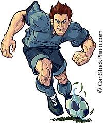 שחקן, לטפטף, כדורגל, קשה