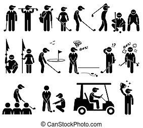 שחקן, מניח, גולף, פעולות