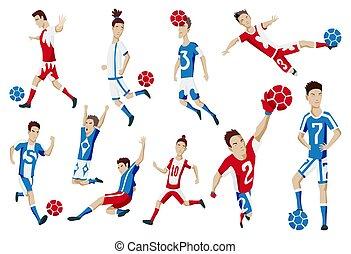 שחקן, פשוט, לעמוד, להראות, לבעוט, כדורגל, actions., קבע, לקפוץ, וקטור, victory., לרוץ, כדורגל, אותיות, לחגוג, שמח, סיגנון, illustration., כדור, שונה