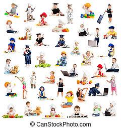 שחק, מקצועות, תינוק, ילדים, ילדים
