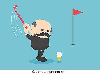 שחק, קביעה, מזדקן, איש עסקים, על, גולף