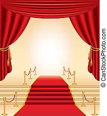 שטיח, זהוב, וילונות, עמודים, מדרגות, אדום
