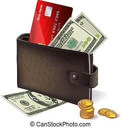 שטרות בנק, זכה, מטבעות, כרטיס, ארנק