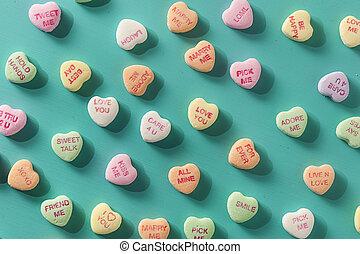 שיחה, לבבות, יום, ממתק, ולנטיין