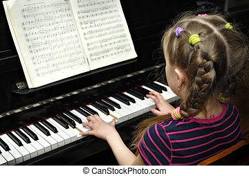 שיעור של מוסיקה, פסנתר, משחק, ילד