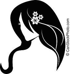 שיער, לוגו, ילדה, יופי