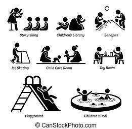 שירותים, בידורי, activities., ילדים