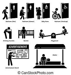 שירותים, נוחויות, ציבור