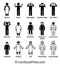 שירותי בריות אישיים, רפואי, cliparts., ציוד, פ.פ., הגנה, הילוכים