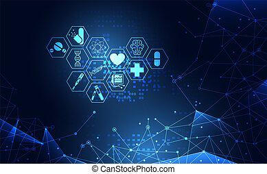 שירותי בריות, עצב, טק, טפט, איקון, תקציר, טכנולוגיה, כחול, דפוסית, שלום, בריאות, דיגיטלי, עתיד, טיפול, מושג, רפואי, המצאה, מדע, רשת, מודרני, תרופה, רקע.