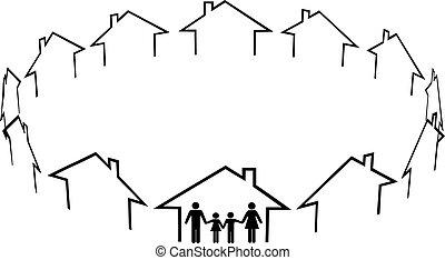שכנים, משפחה, קהילה, בתים, בית, מצא