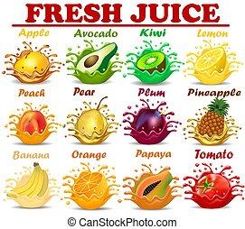 שכשוכים, ירקות, סחוט, קבע, לאחרונה, דוגמה, מיץ, פירות