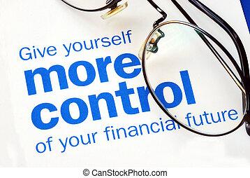 שלוט, כספי, התמקד, עתיד, קח, שלך