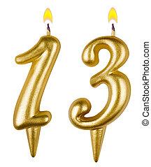 שלושה עשר, נרות, יום הולדת, מספר, הפרד