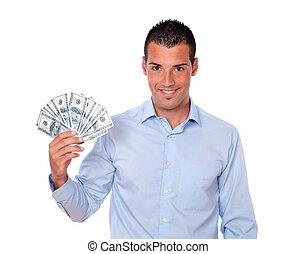 שלו, דולרים, צעיר, להחזיק, בחור, יפה