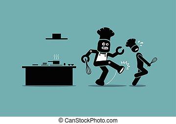 שלו, הלאה, רובוט, kitchen., טבח, עבודה, בן אנוש, בועט
