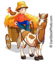 שלו, השקע, עגלה, חקלאי, רכוב, עוף