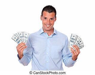 שלו, כסף, לטינית, אטרקטיבי, להחזיק, איש