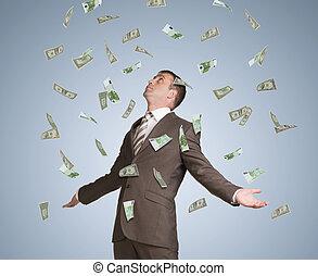 שלו, כסף, arms., התפשט, מעל, נפול, איש עסקים